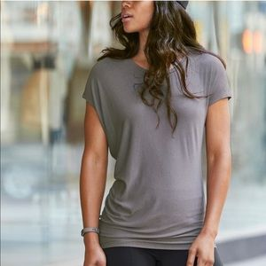 ATHLETA asymmetrical top short sleeves